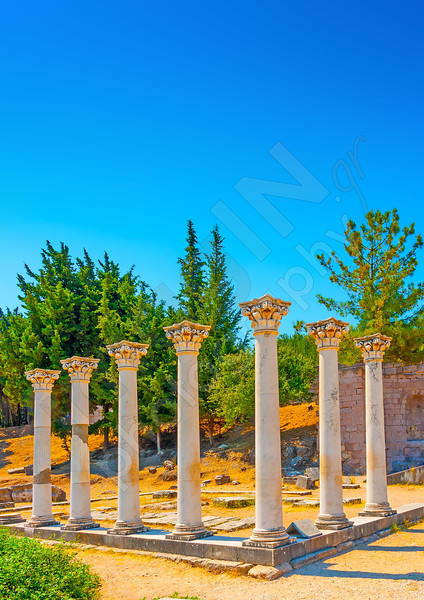 ancient columns at Asclepium in Kos island in Greece