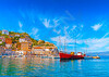 The pictorial port of Hydra island in saronic gulf in Greece