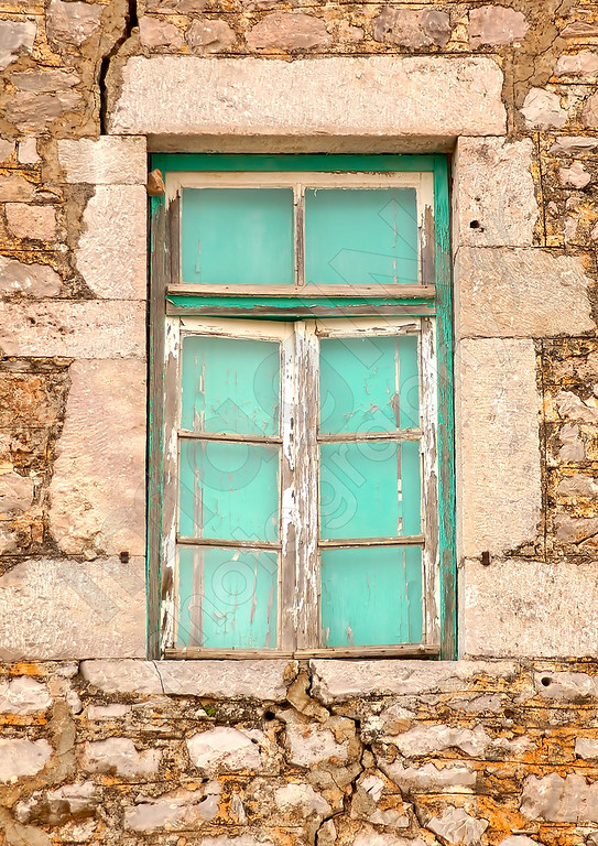 Colored Window in old Greek house
