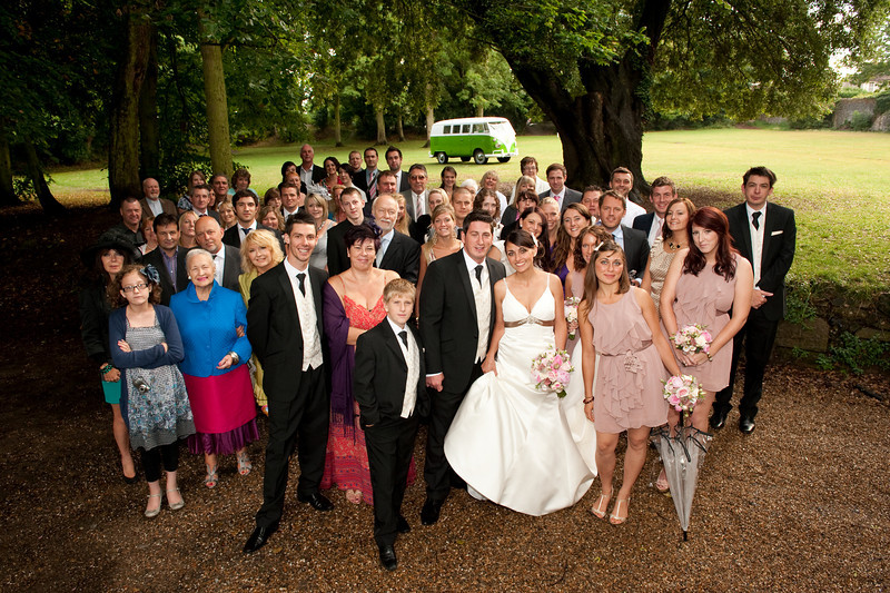 The family, friends and of course the brides VW taxi.