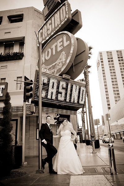 Michele & Jon posing on Fremont Street <br /> Las Vegas, Nevada
