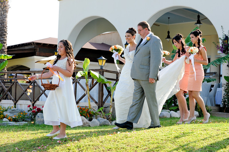 Sabina & her wedding party arriving at the ceremony<br /> Rhodes, Greece