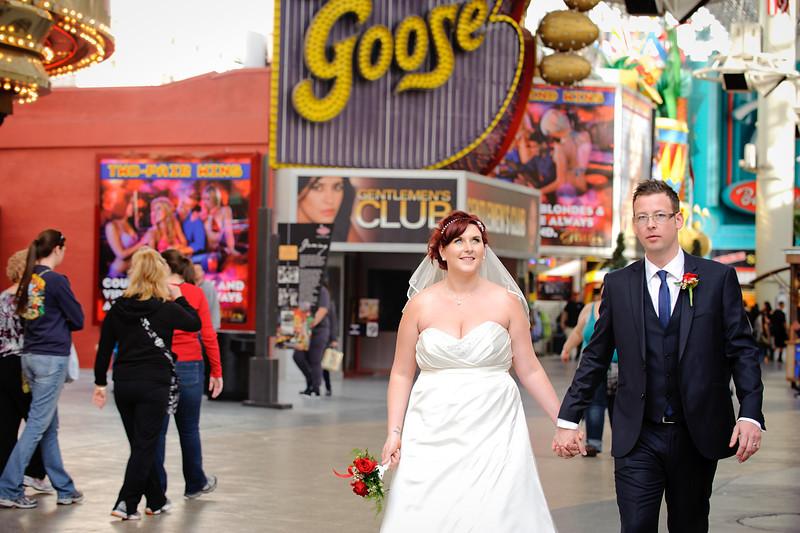Bride & Groom on Fremont Street in Las Vegas<br /> Las Vegas, Nevada