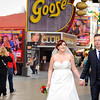 Bride & Groom on Fremont Street in Las Vegas<br /> Las Vegas, Nevada
