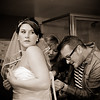 Bride & brother in Paris Las Vegas hotel room getting ready<br /> Las Vegas, Nevada
