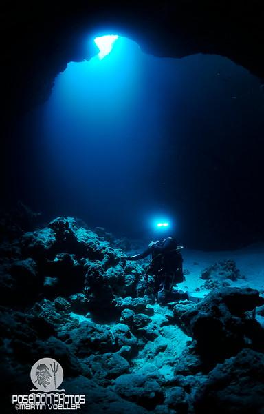 Diver inside a Cavern