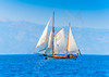 Old classic wooden sailing boat  during a Classic Boats Regatta in Spetses island in Greece