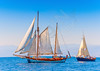 2 Old classic wooden sailing boats  during a Classic Boats Regatta in Spetses island in Greece