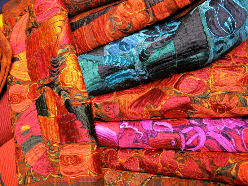 Embroidered Textiles, Market at Chichicastenango, Guatemala