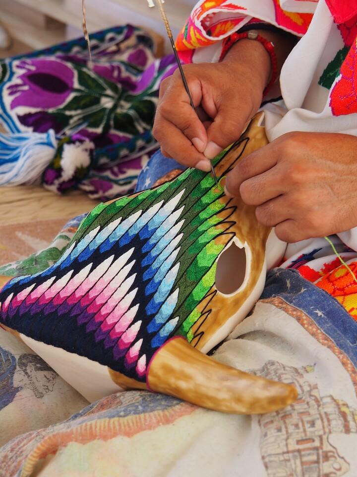 Detail of Huichol Artist, Bucerias, Nayarit