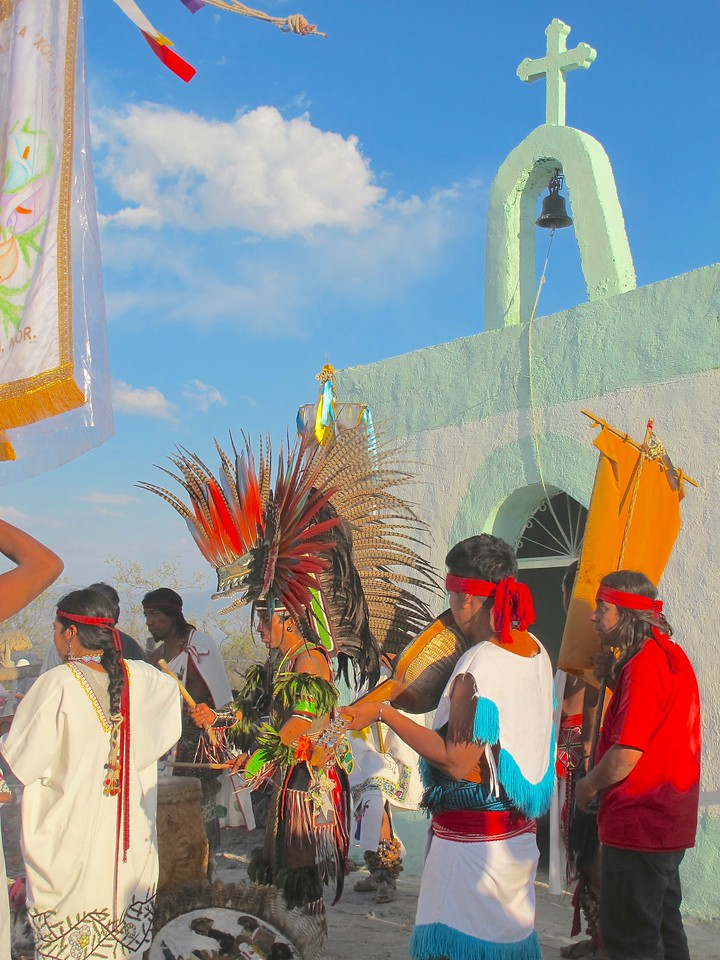 Tzinacan and the Concheros at a Ceremony in the Desert