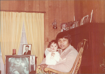 Dad and Me.  I love that the Incredible Hulk is on the TV and that my mom's father's picture is sitting on top of it.