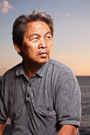Portrait session with Dad at Kaka'ako Beachfront Park, in Honolulu, Hawai'i, USA, 2012