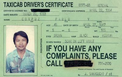 This is one of Dad's taxi certificates.