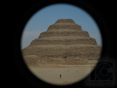 STEP PYRAMID - Dashur, Egypt  I got this shot by using a telephoto attachment (for my trusty Canon S80 point-n-shoot) incorrectly (did it on purpose though) creating a harsh circular vignette.
