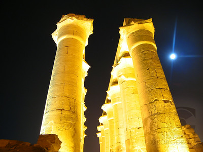 Luxor, Egypt  Believe it or not, this shot is unedited. They do a great job of lighting up the Luxor temples, so as long as you stabilize your camera (I carried a cheap, $5 mini-tripod with me) anyone can get these colors.