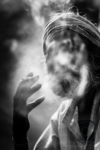 INDIAN MAN SMOKING - New Delhi, India