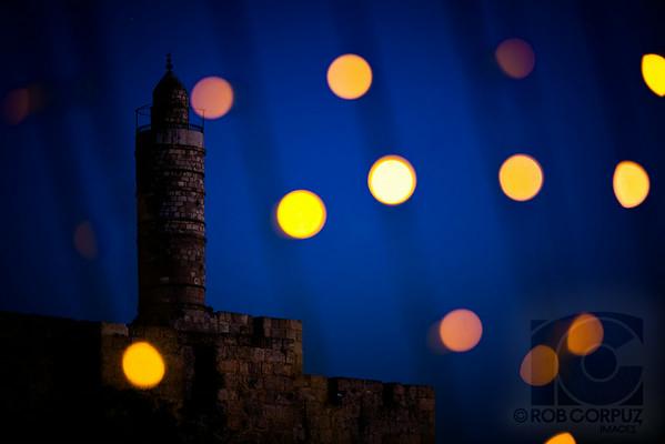 TOWER OF DAVID - Jerusalem, Israel  I shot this through a kind of net of lights.