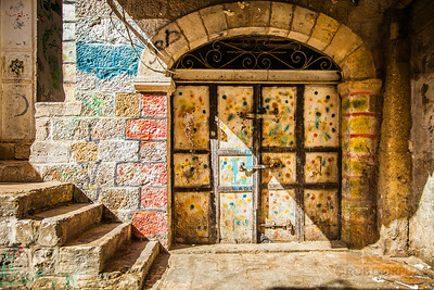 MUSLIM QUARTER - Jerusalem, Israel  The painting on the outside of this residence indicates that the person who lives there has made the hajj, the journey to Mecca.