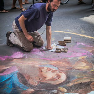 A STREET ARTIST AND JESUS SHARE A LOOK - Florence, Italy