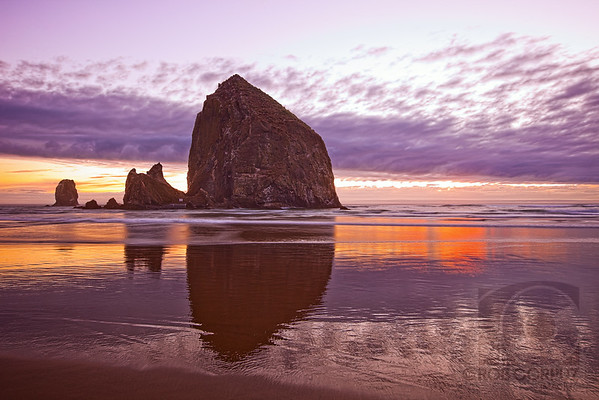 "HAYSTACK ROCK & NEEDLES - Cannon Beach, OR, USA  Apparently part of ""The Goonies"" was filmed here.  While shooting this, the tide kept creeping in (quite suddenly at times) and I kept having to move the tripod further and further back."