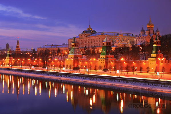 KREMLIN AT DUSK 2 - Moscow, Russia  While I sharpened and added a touch of contrast to this photo, as well as removing some dust spots due to a dirty sensor, the colors here are essentially unchanged from the original in-camera jpg.