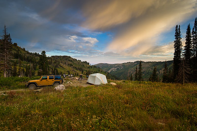 an empty campsite in the mountains