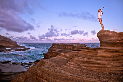 "FOUND - Honolulu, HI, USA  This was taken at one of my favorite spots back home, a location featured in a couple of episodes of ""Lost"" and some movies.  Thanks to the lovely Diana for being my model and inspiration.  And for not falling and crushing herself on the sharp rocks below :^)"