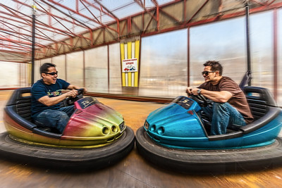 BUMPER CARS - Moscow, Russia  The sign in the background basically says that crashing the cars is not allowed.