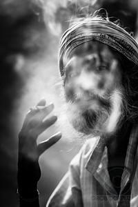 INDIAN MAN SMOKING - New Delhi, India