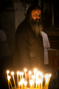 A MAN INSIDE THE CHURCH OF THE HOLY SEPULCRE - Jerusalem, Israel