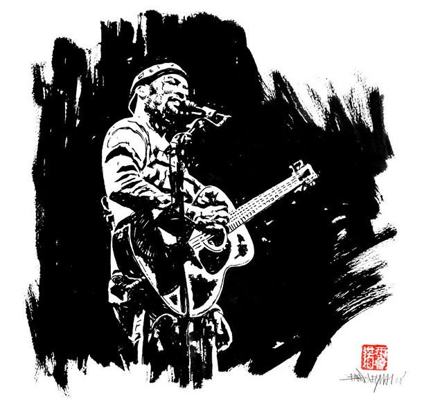 Ben Harper, 2008. Encre de chine sur papier, 35 x 35 cm.