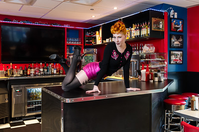 Pinup model on counter