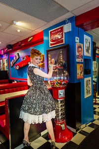 Pinup Model at with bubble gum