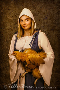Young Woman with Chicken