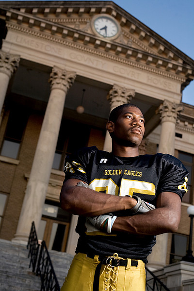 "Athens High School's Tyree Malone. Photographed at the Limestone County Courthouse in Athens.<br /> From the ""Hometown Heroes"" portrait series."