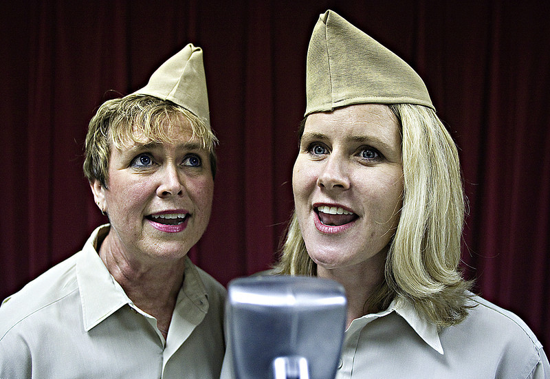 "Rehearsal of the play ""We Interrupt This Program... Pearl Harbor Remembered"" at Athens Senior Center. Vicki Bedingfield, left, and Whitney Reinhart."