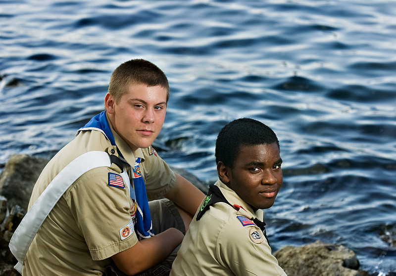 The National Council of Boy Scouts of America awarded Alex Standridge, left, a Medal of Merit after he pulled fellow scout Julian Lucky, right, to safety during a canoe trip on the Buffalo River in Tennessee.
