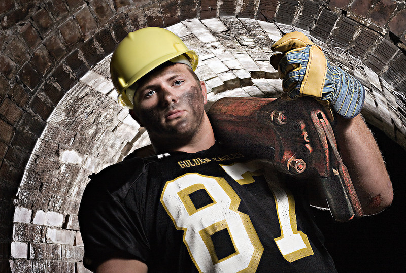 """Athens' Pierce McGrady.<br /> From the """"Blue Collar Football Players"""" series."""