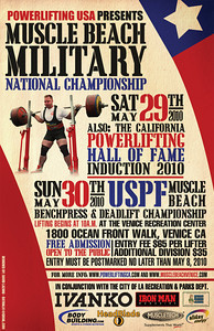 For more information or to compete in future events at Muscle Beach gym, visit. http://www.powerliftingca.com, http://www.musclebeachvenice.com  or visit Muscle Beach Gym in Venice. 1800 Ocean Front Walk Venice, CA 90291.  Promoter: Joe Wheatley.http://www.musclebeachvenice.com. Meet Director: Steve Denisen. pwrlftrs@msn.com.