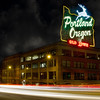 Historic Portland Oregon Old Town Sign Light Trails