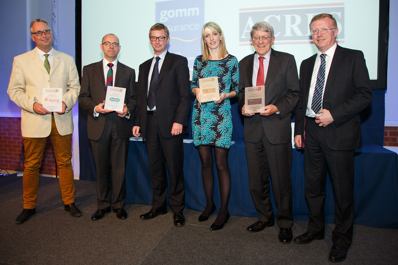 Great Midlands Fun Run Awards 2015 - L to R - Richard Coulter (Spice), Tim Goodhew (Specsavers), Giles Edmunds (Specsavers), Karen Mucklow (Acres), Graham Gomm (Gomm Insurance), Dave Cox