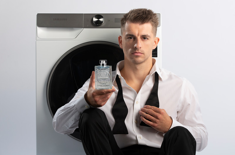 Max Whitlock is unveiled as the face of new, limited edition 'Freshly Laundered ' Eco Edition' fragrance, created by Samsung