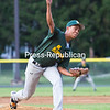 Thursday, July 24, 2014. McSweeney's battles City Police during the second game of the Plattsburgh Baseball Club's best-of-three championship series at Lefty Wilson Field in Plattsburgh Wednesday evening. <br /><br />(P-R Photo/Gabe Dickens)
