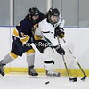 Chazy's Astrid Kempainen battles for this puck against Skaneateles at the Allyn Arena in Skateateles, N.Y., on Saturday, Feb. 13, 2010. Mike Okoniewski/P-R Photo