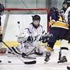 Chazy goalie Christina Emery defends the net against Skaneateles at the Allyn Arena in Skateateles, N.Y., on Saturday, Feb. 13, 2010. Mike Okoniewski/P-R Photo