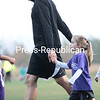 Friday, October 3, 2014. Chazy Mite youth soccer players compete in a friendly scrimmage during halftime in the Chazy vs Lake Placid varsity boy's soccer game at George Brendler Field in Chazy recently.  <br /><br />(P-R Photo/Gabe Dickens)