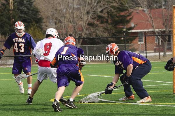 Saturday, March 7, 2009. Plattsburgh State vs. Utica College in Plattsburgh.  Plattsburgh won 20-13.<br><br>(Staff Photo/Michael Betts)