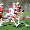 Wednesday, April 11, 2012. The Plattsburgh State men's lacrosse team used a strong third period Wednesday afternoon, April 11, 2012 on the way to recording its second-straight SUNY Athletic Conference home victory -- a 13-8 decision over Oneonta. <br /><br />(P-R Photo/Rob Fountain)