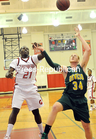 Friday, January 27, 2012. Plattsburgh State vs. SUNY Oswego in Plattsburgh.  Oswego won 69-64. <br /><br />(P-R Photo/Rob Fountain)